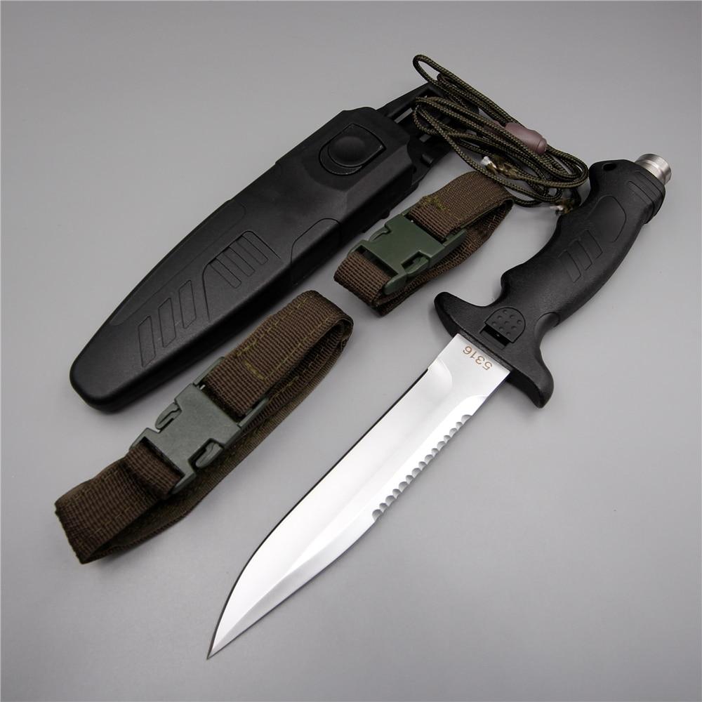 Chinois armée plongée couteau 440c lame fixe camping rouille surface dentelée portable portable en plein air tactique couteau avec gaine