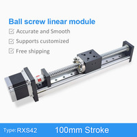 RXS42 100mm Ball Screw Driven CNC Linear Motion Stage Slide Actuator Guide Rail Robotic Arm Kit