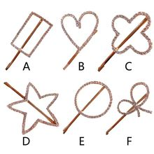 Korean Minimalist Side Bangs Hairpin Sweet Girls Shimmer Rhinestone Geometric Hair Clip Hollow Star Heart Metal Alloy Barrettes