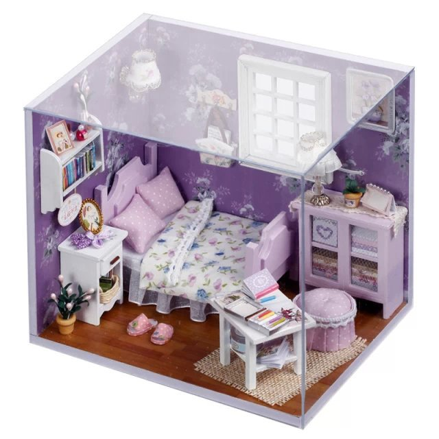 Attractive 3D DIY Handmade Dolls House Toys Princess Room With Furniture Doll Family 2  LED Sweet Sunshine