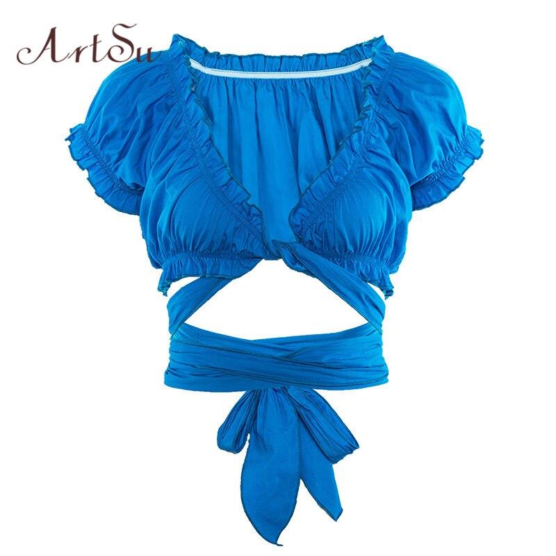 ArtSu Vogue Tshirt Ruffle Crop Top Deep V Neck Sexy Lace Up Tee Shirt Femme Sexy Shirt Short Sleeve Summer Top Fashion ASTS20773