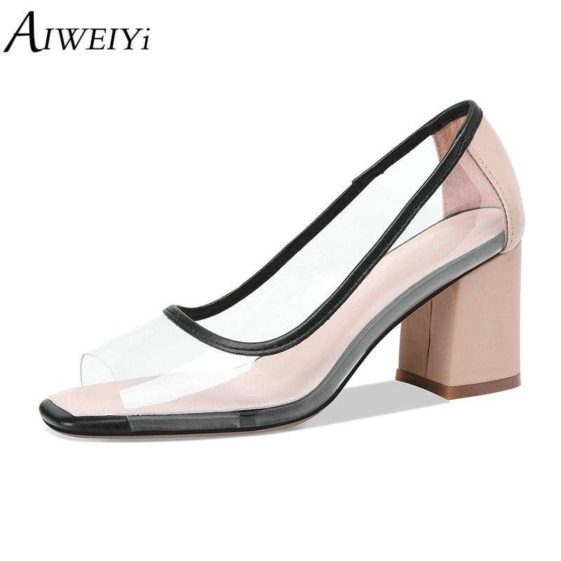 2018 Verano Altos Tacones De Genuino Cuero Mujer Sandalias Aiweiyi blanco  Transparente Bombas Zapatos Negro Material B4qdWT1w 9807e3df2cb4