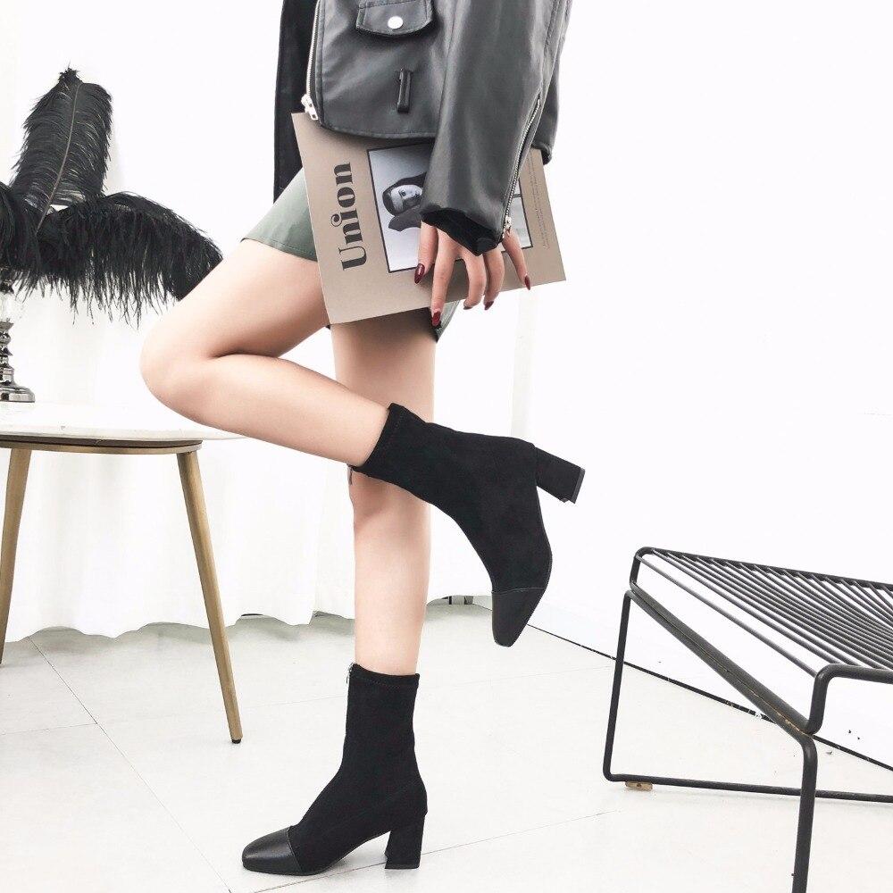 marrón Pu De Rebaño Vestido 2019 Zapatos Mujer Pie Tendencia Botas Damas Tacón Cremallera Cuadrado Zapato Cómodo Del Negro Primavera Mujeres La Las Formale Nueva Alto Dedo Eq8Owpq4