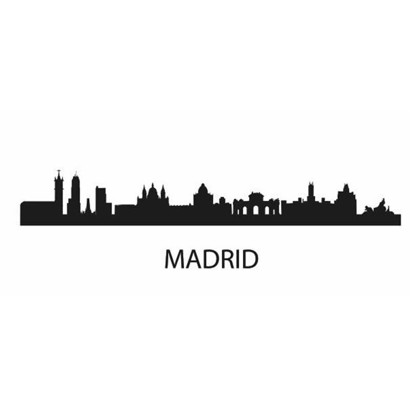 Dctal Мадрид город этикета ориентир Skyline Наклейки на стену эскиз плакат Parede Домашний Декор Стикеры