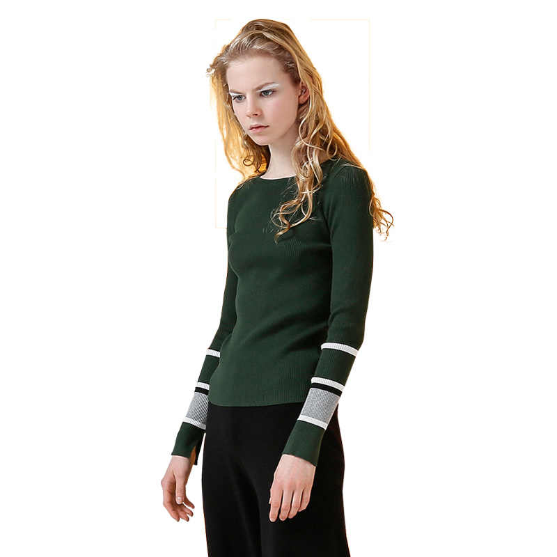 Toyouth Women Sweaters and Pullovers 2019 Spring Crew Neck Long-sleeve Troict Basic Cashmere Knitted Striped Sweater feminino