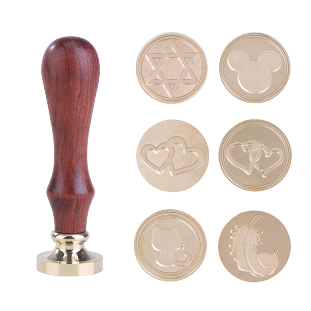 1PC Love Series Retro Wood Handle Sealing Wax Stamp Decorative Greeting Birthday Wedding Invitation Sealing Stamps 30pcs in one postcard love review class romantic love film christmas postcards greeting birthday message cards 10 2x14 2cm