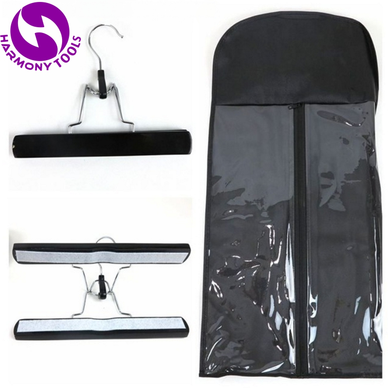 20 Sets Zipper Bag And Hanger For Packing Human Hair Weft And Ponytail Hair Extension Packaging