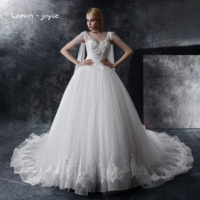 Wedding Dresses 2018 Couture Ball Gowns Elegant Royal Train Dress Tulle Plus Size Bridal