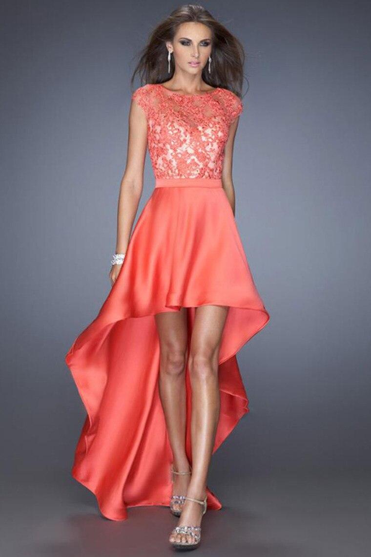 New DESIGN Sexy 2014 High Low Prom Dress Dark Blue Scoop Cap Sleeve ...