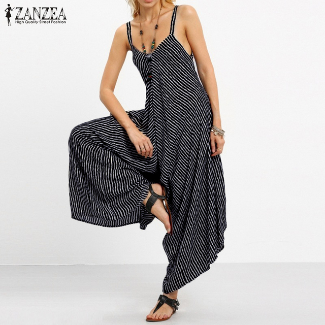 9cbb2087b79b ZANZEA 2018 Rompers Womens Jumpsuit Sexy Strapless Casual Loose Striped  Playsuits Beach Backless Overalls Plus Size Trousers