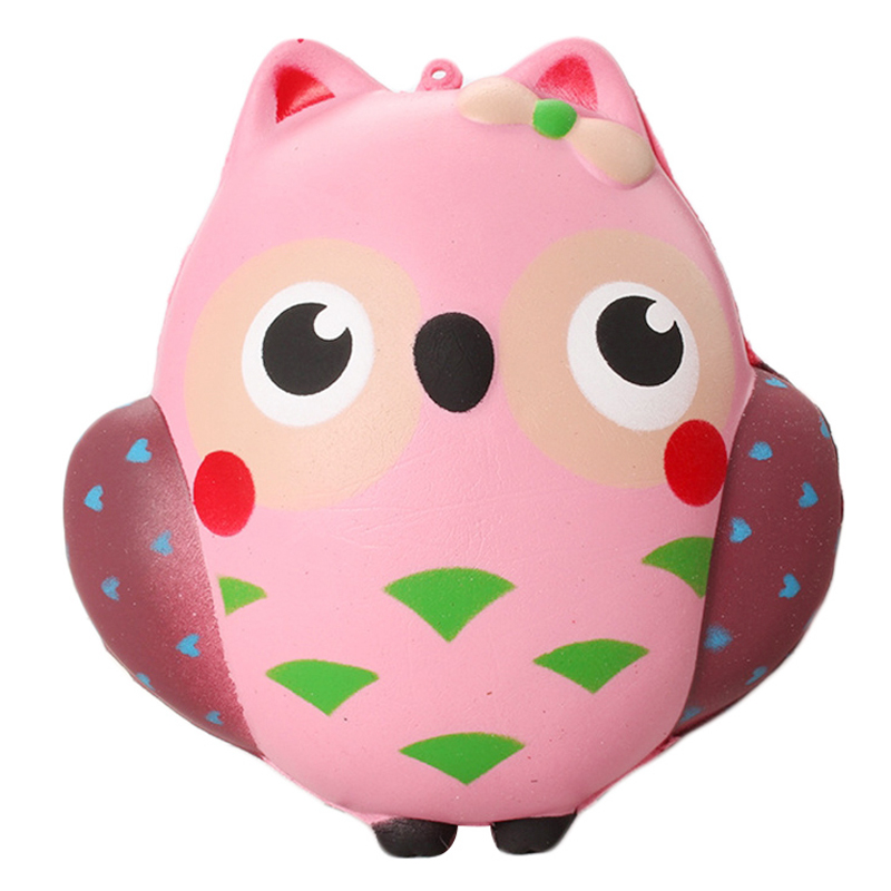 Jumbo Kawaii Owl Squishy Slow Rising Cartoon Doll Stress Relief Cream Scented Phone Straps Soft Squeeze Toy Fun For Kid Gift