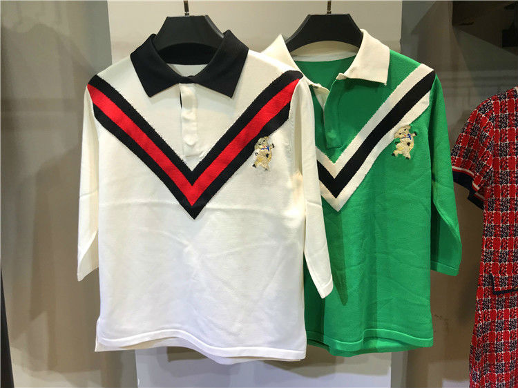 2019 new Pure cotton striped embroidered POLO shirts for men and women 2  colour 3 sizes clothes