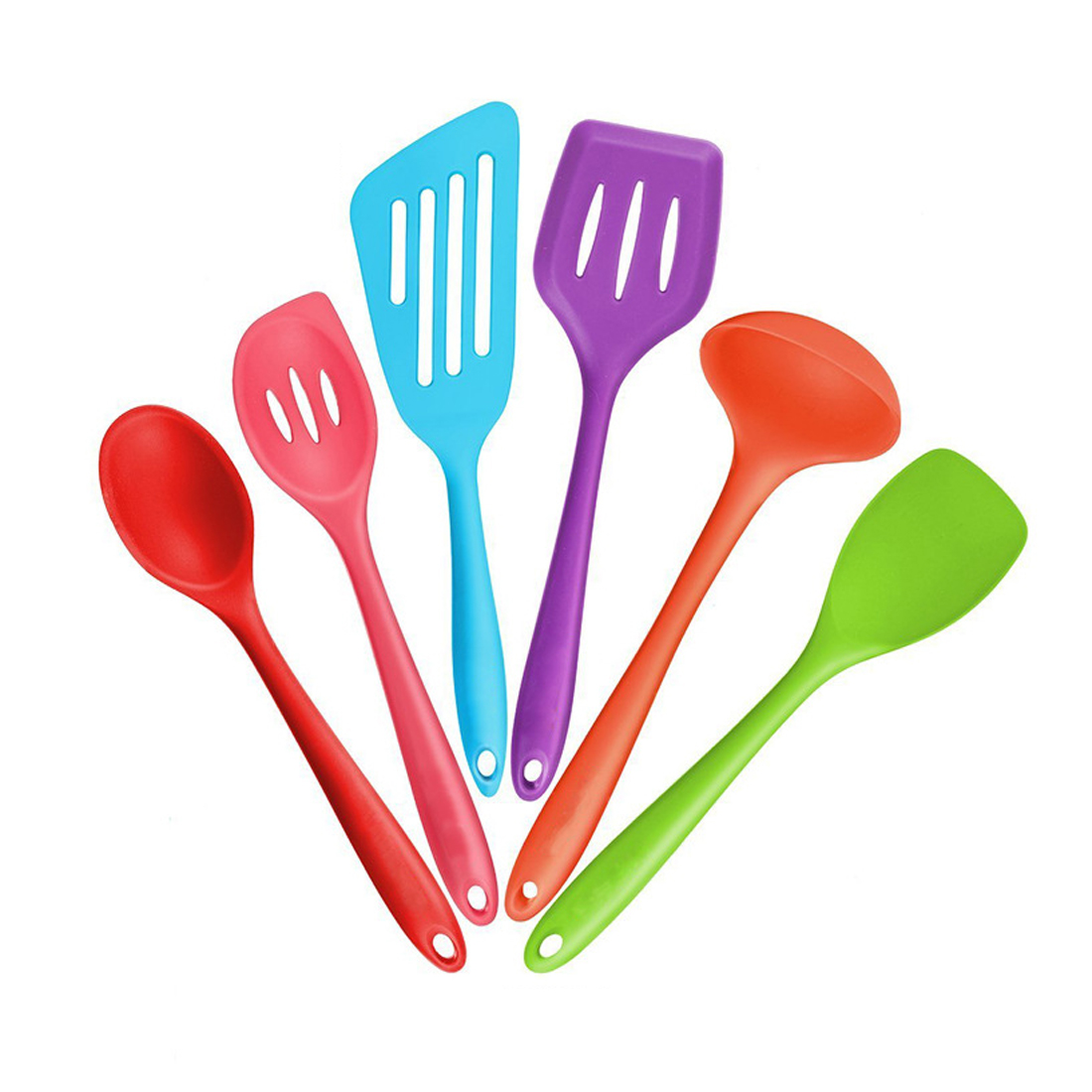 6 Pcs/Set Heat Resitant Non-Stick Silicone Kitchen Utensils Set Mixed Color Cooking Bake Tool DIY Home Cooking Tools Sets