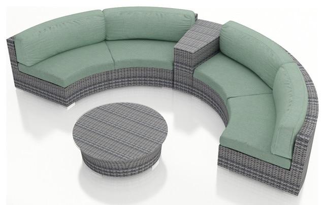 Captivating 2017 Luxury Design Outdoor Wicker Patio 4 Piece Half Round Sofa Set