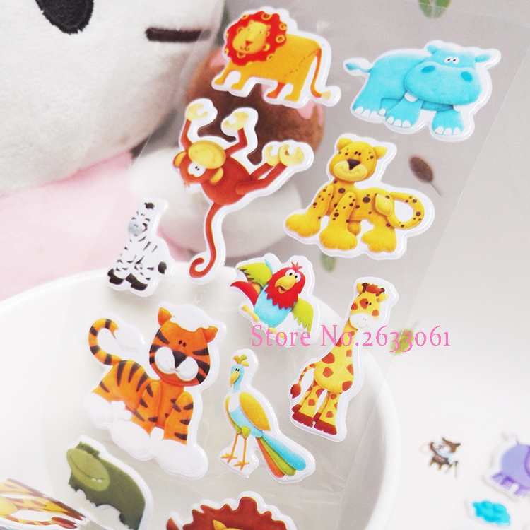 2018 New Real Fireman Sam 1Pcs Zoo Cute Cartoon Animal Bubble Stickers Mini 3D Bubble Sticker For Baby Eduional 3 sheets set fireman sam stickers for kids home wall decor on laptop cute cartoon mini 3d foam sticker decal fridge doodle