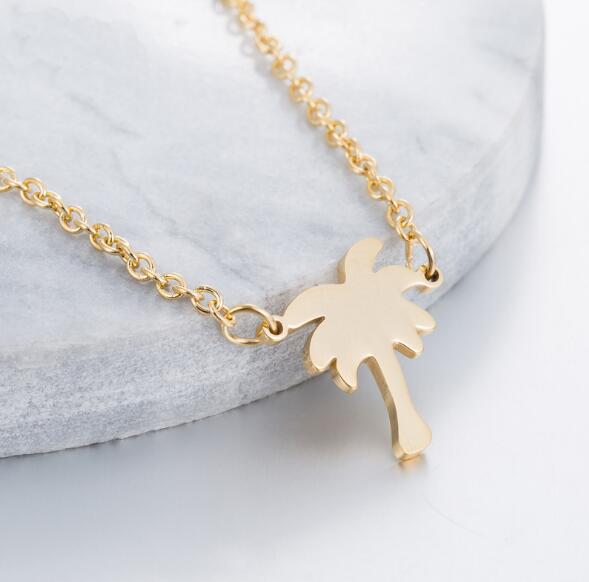 Dropshipping Gold Color Palm Tree Necklace Women Boho Jewelry Island Life Stainless Steel Chain <font><b>Bff</b></font> Gift Collier Femme 2019 image