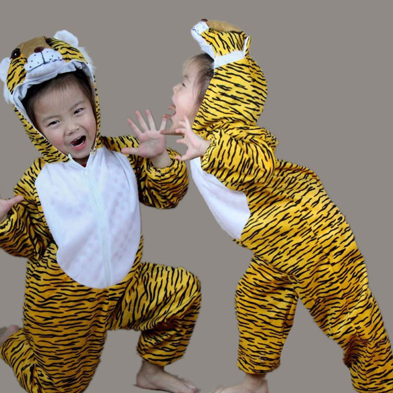 Umorden Barn Kids Girl Boy Cartoon Dyr Kostymer Performance Suit Tiger Children's Day Halloween Kostymer Jumpsuit