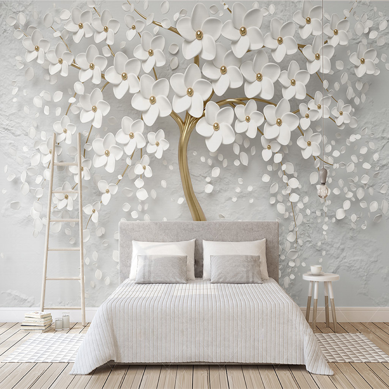 Decorative Wallpaper Beautiful Wedding Room White Flowers 3d Relief  TV Background Wall(China)