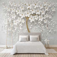 Decorative wallpaper Beautiful wedding room white flowers 3d relief TV background wall