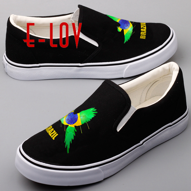 E-LOV Latest Design Brazilian National Flags Canvas Shoes For Women Lady Printed Brazil National Emblem Casual Loafers Shoes e lov women casual walking shoes graffiti aries horoscope canvas shoe low top flat oxford shoes for couples lovers