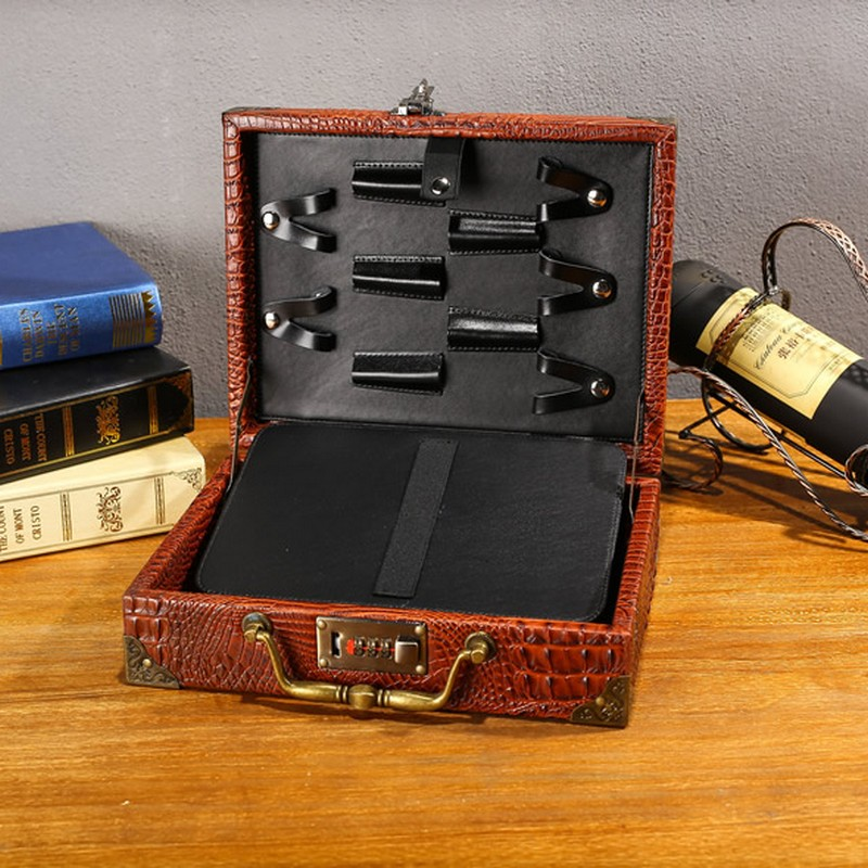Vintage PU Leather Hairdressing Toolkit Case Salon Barber Scissors Trimmers Comb Storage Suitcase Bag Styling Tools