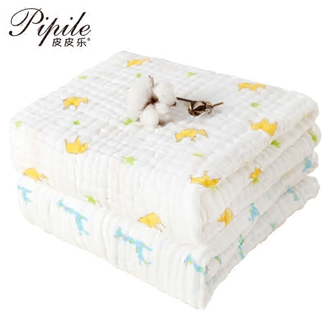 6 layer Super soft breathable muslin cotton Newborn Baby swaddling gauze washed baby blanket thick bath towel cartoon pattern