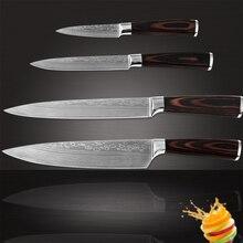 Xyj marca 7cr17 acero inoxidable cuchillo paring utility chef cuchillos de cocina de corte de cuatro piezas conjunto damasco patrón de herramientas de cocina