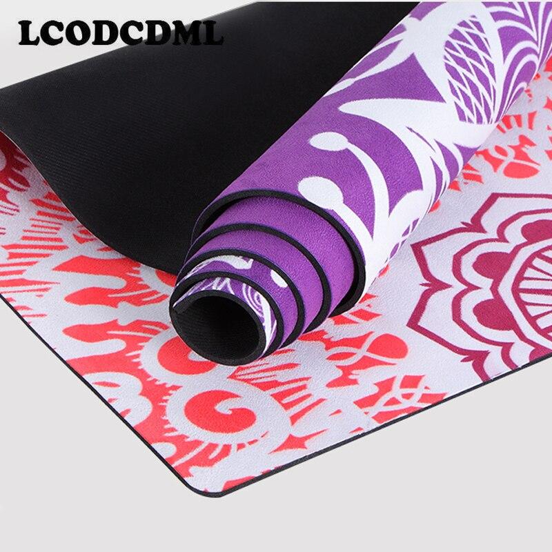 Купить с кэшбэком Natural rubber professional yoga mat fitness mat printing non-slip widening folding yoga mat shop towel thin