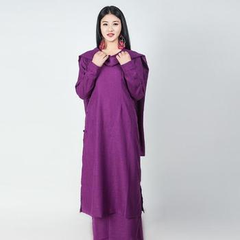 India Nepal style buddist fashion national costume Chinese Tibet Long Gown robe women's wear three sets Coat + Skirt + Scarf