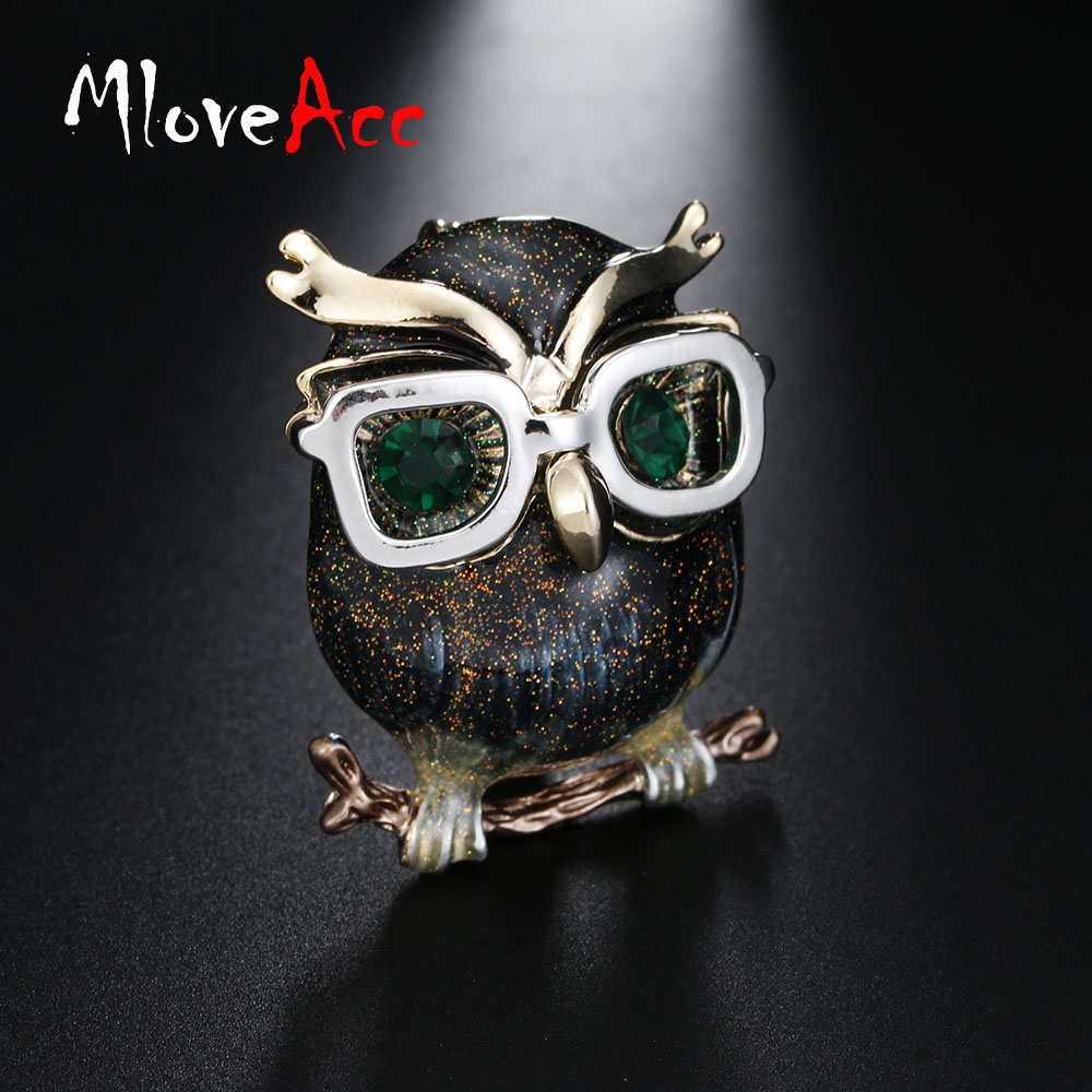 Lunettes Mode Owl Brooch Pin Jewelry Animal broches Accessoires émail broches D