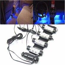 4x 3LED салона Декор свет лампы 12 В Blue Glow автомобильная зарядка 4 в 1 атмосфера