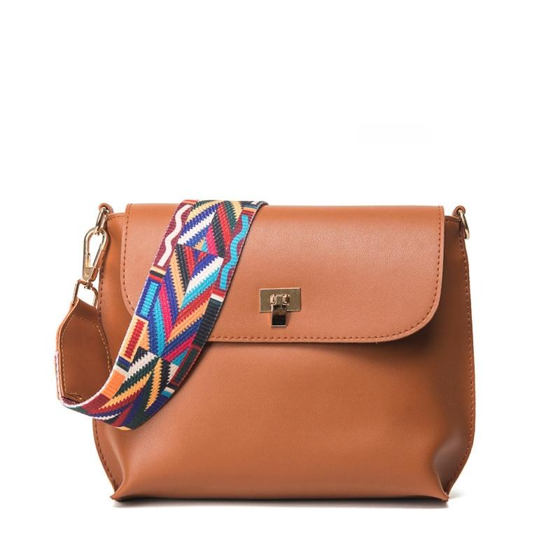 Fashion Brand Casual Shoulder Bags Women Small Messenger Bags PU Leather Wide Strap Handbag Famous Brands Female Crossbody bag