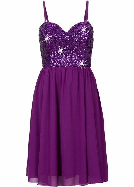 Strapless Sequined Chiffon Sweetheart Dress