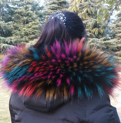 Autumn and winter women's faux Fox fur raccoon fur scarf muffler scarf faux fur collar hooded collar 105CM
