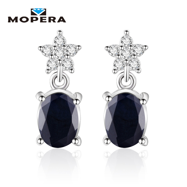 Mopera Dainty Star 1.72ct Natural Sapphire Stud Earrings Genuine 925 Sterling Si