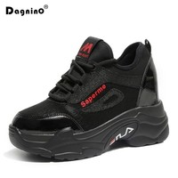 2018 Autumn New Height Increased Sneakers Wedges Shoes For Women Platform Casual Shoes 9CM Tenis Feminino Fashion Black Shoes