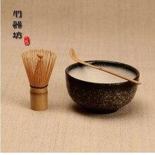 3 unids/set Bambú Ceremonia Del Té Set de Regalo de Cerámica Taza de Té Matcha Polvo Primicia Chasen Batidor Japonés Teaware Presente