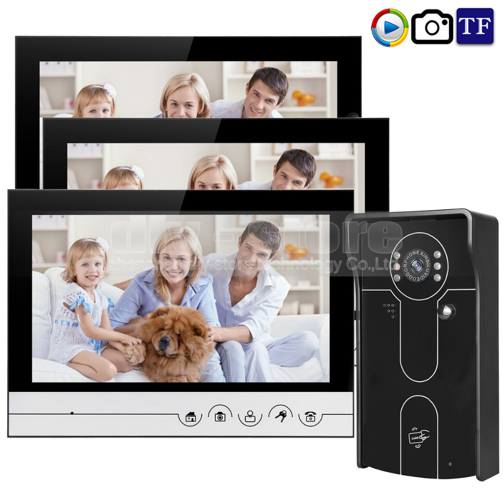DIYSECUR 9inch Video Record/Photograph Video Door Phone Doorbell Waterproof HD RFID Camera Home Security Intercom System 1V3