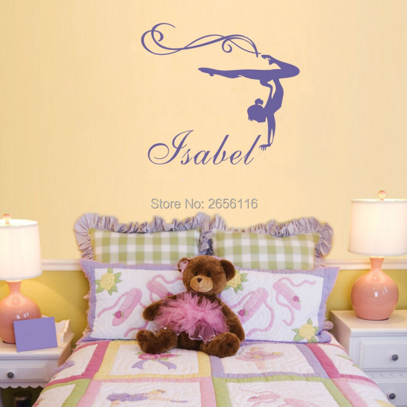 Personalized name gymnastics girl art mural stickers sport for Sports decals for kids rooms