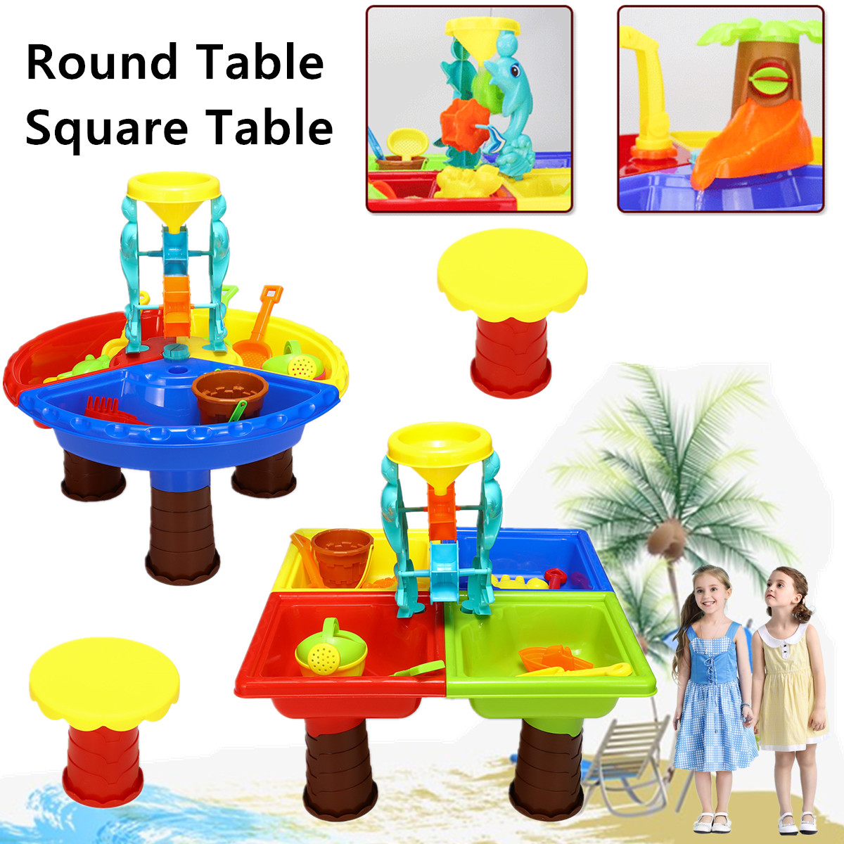 22Pcs Sand & Water Round/Square Table Box Kids Children Outdoor Activity Beach Toy Play Set Four Separated Bright Colour Funny 22pcs sand