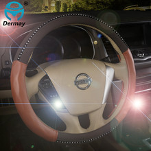 Free Shipping Car Leather Diamond Steering Wheel Cover With Rhinestone,3COLORS 38CM Personalized Accessories interior