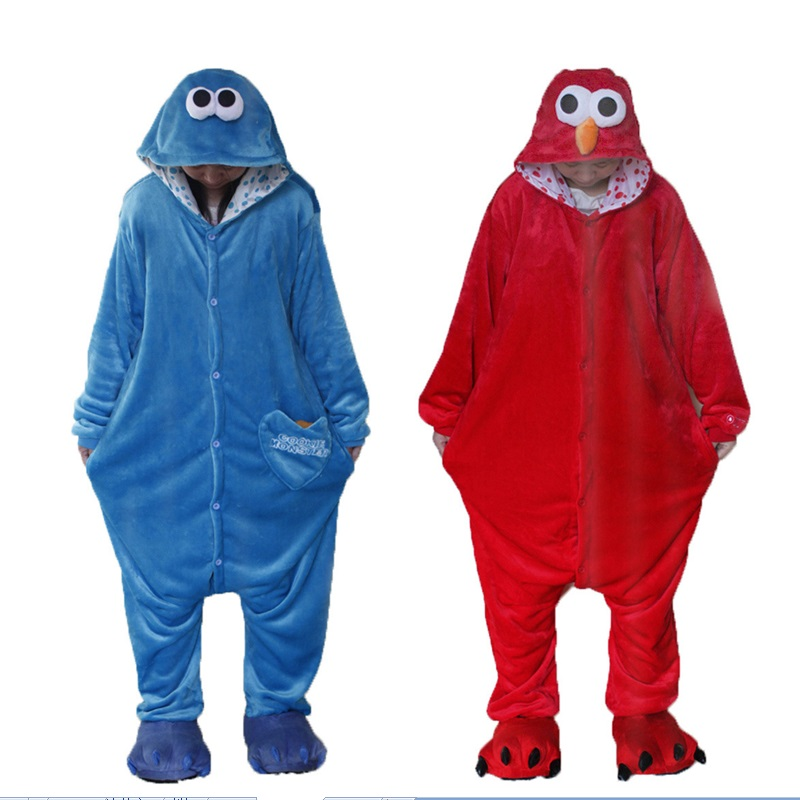 New Flannel Adult Animal Onesie Cookie Monster Pajamas Disfraces For Unisex Sleepsuit Sleepwear Pyjamas