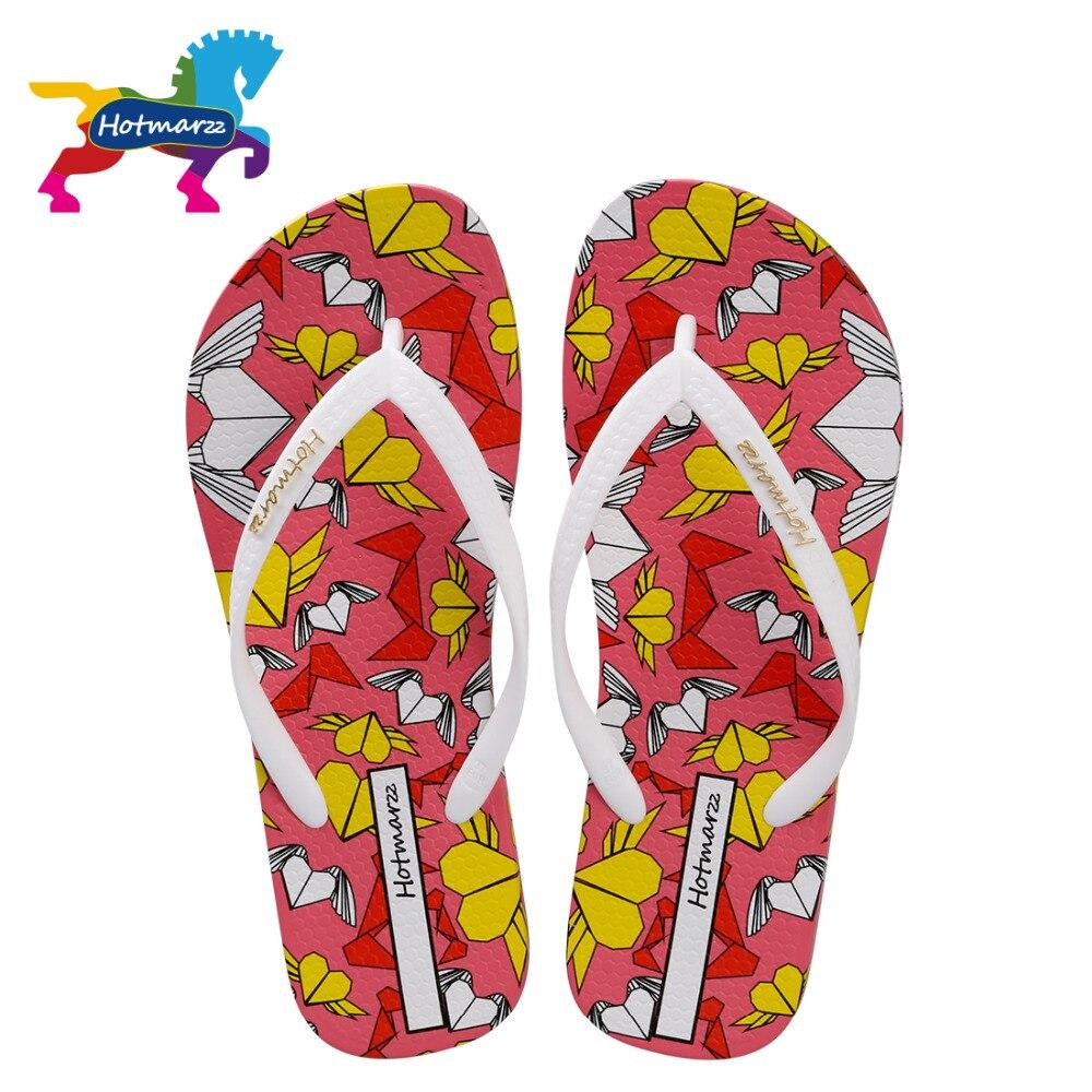 Hotmarzz Femmes Pantoufles D'été Flip Flops Mode Diapositives de Bande Dessinée Coeur Amour Plage Sandales Pantoufles Dames Maison Chaussures Femme