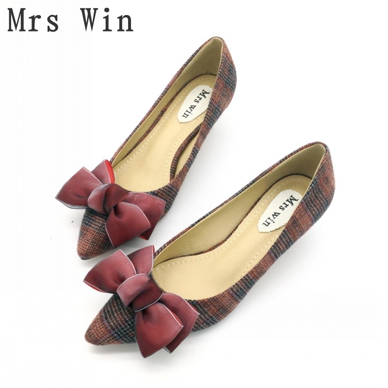 2018 New Spring Autumn Shoes Women Pumps High Heels Bowknot Pointed Toe Slip-On Ladies Single Shoes Feminino Footwear Plus Size new 2016 spring autumn summer fashion casual flat with shoes breathable pointed toe solid high quality shoes plus size 36 40