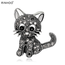 Ринху милые животные кошка брошь булавки кошка брошь для женщин ринстоун брошь красивая брошь для лучшего специального подарка