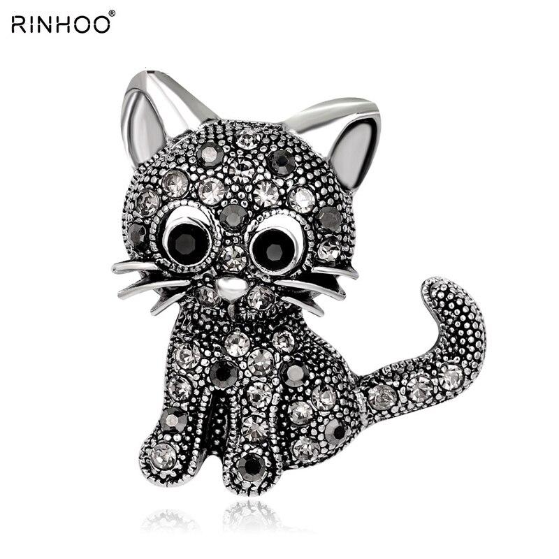 Rinhoo cute animals cat Brooch pins cat Brooch For women Rinestone Brooch Beautiful Brooch for best special gift