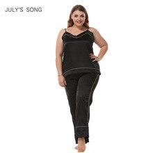 Julysong s song women sleepwear pijama conjunto de tamanho grande sem mangas pijamas de seda do falso pijamas estilingue e calças pijamas mancha homewear