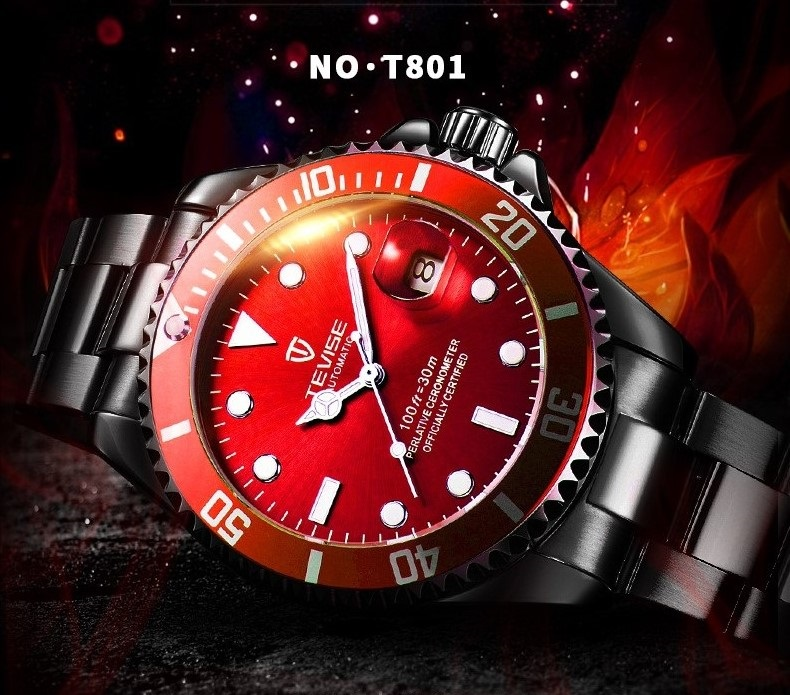 1TEVISE Red Watch Men Creative Luminous Watches Date Waterproof Clock Man Blue Automatic Watch Purple Mechanical Wristwatches (3)