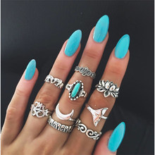9 Pc/set Wanita Punk Yoga OM Lotus Gajah Bulan Vintage Cincin Hollow Suku Etnis Hippie Batu Joint Cincin(China)