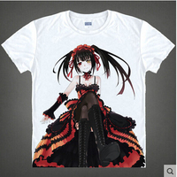 Date A Live T shirt Tokisaki Kurumi Yoshino Cosplay T Shirt Fashion Anime Cotton Tops Tee For Men Women